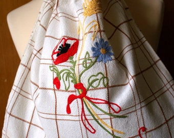 Vintage Embroidered Italian Cotton Bread Bag