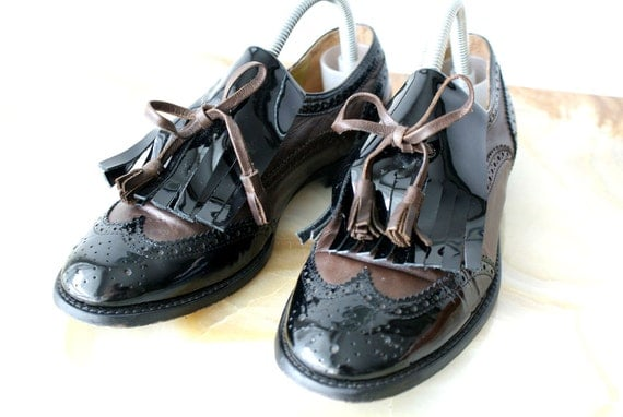 Brown and Black Patent Leather Wingtip Oxfords with Fringe and Tassels 6