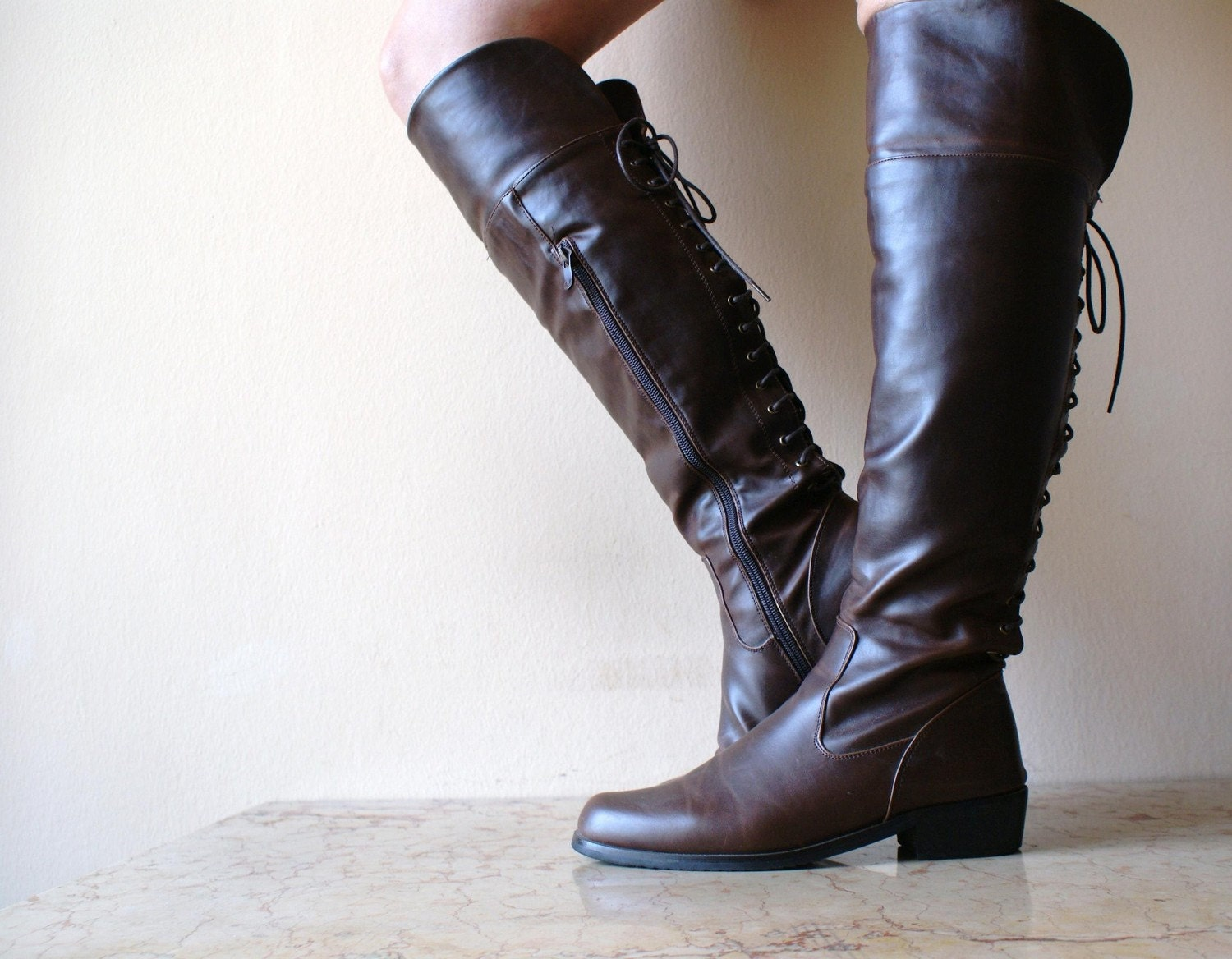vegan brown equestrian back lace up boots size 8