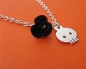 Dia de los Muertos Skull and Rose Necklace - handcut sterling