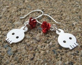 Dia de los Muertos Skull and Rose Earrings - handcut sterling