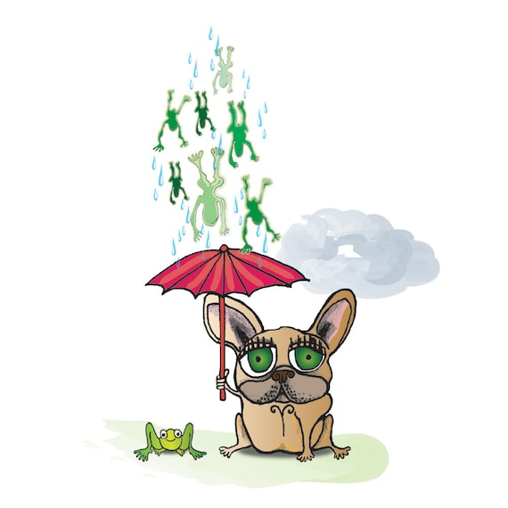 Frogs Raining Down on Red Umbrella, French Bulldog and Smiling Green Frog Print with Matte