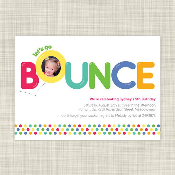 PRINTABLE Kids Birthday Party Invitations - Childrens Birthday Invites - Bounce House Party - Printable Photo Card
