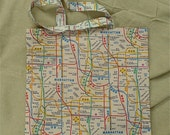 NYC Subway Map in White, Handmade Cotton Tote