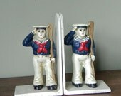 Iron Nautical bookends - two sailors