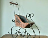 RESV staceykearsey Antique wicker and iron sleigh doll photo prop display