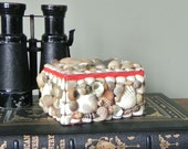 SALE Seashell box - sailors valentine day - romantic presentation box beach coast ocean sea house cottage white red taupe beige charming