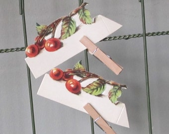 Vintage place cards with cherries cherry