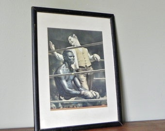 Vintage boxer sports figure boxing Sports print of boxer Dick Tiger and promoter in the boxing ring - restaurant stage decor