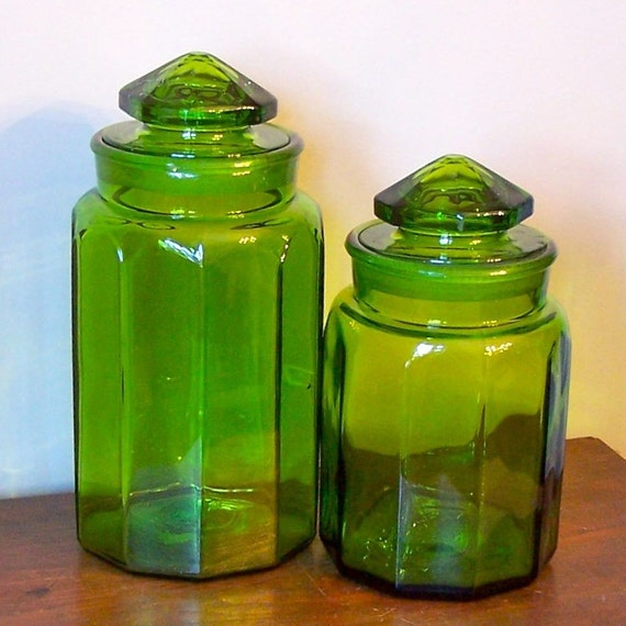 large green mid century modern apothecary jars canisters
