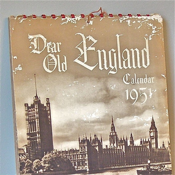 Vintage Sepia calendar from 1951 - dear old England