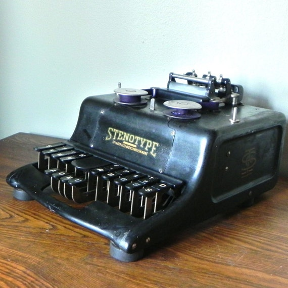 reserved for eeh527 vintage stenotype machine with original carrying trunk or case mid century office century office equipment