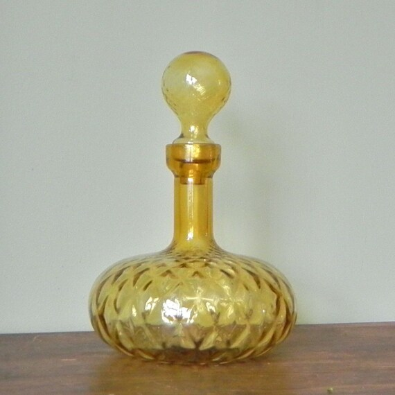 Large amber glass jar with lid - decanter - glamorous