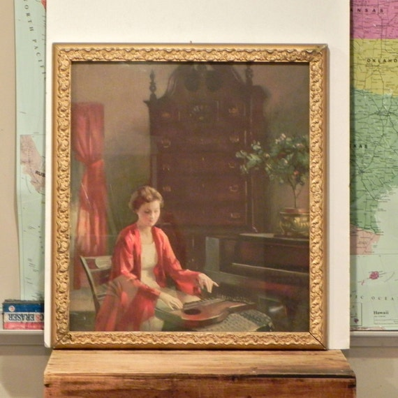 RESV sharon Framed lithograph of woman playing musical instrument in original gold wood frame- soothing and peaceful