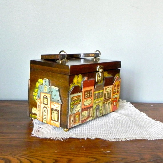 RESV Garbielgirl SALE Vintage box purse with village buildings on it - Milford