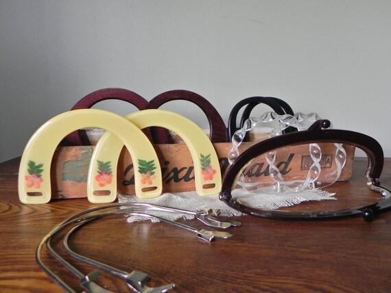 Vintage purse handles - metal lucite wood - enough for 8 purses