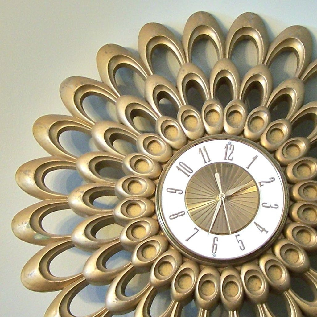 Retro Sunburst Wall Clock By Elgin