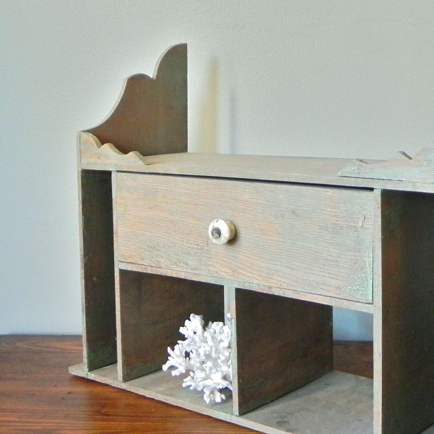 Vintage divided wall shelf or desk organizer by jollytimeone - Desk shelf organizer ...