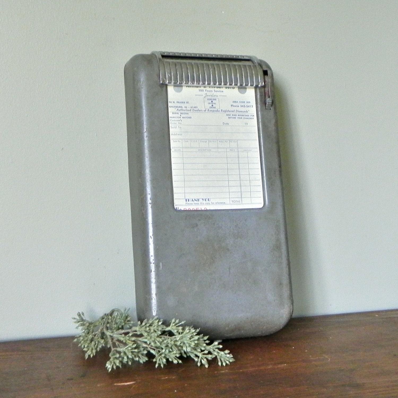 Vintage Moore Receipt Machine Register Grey Industrial For