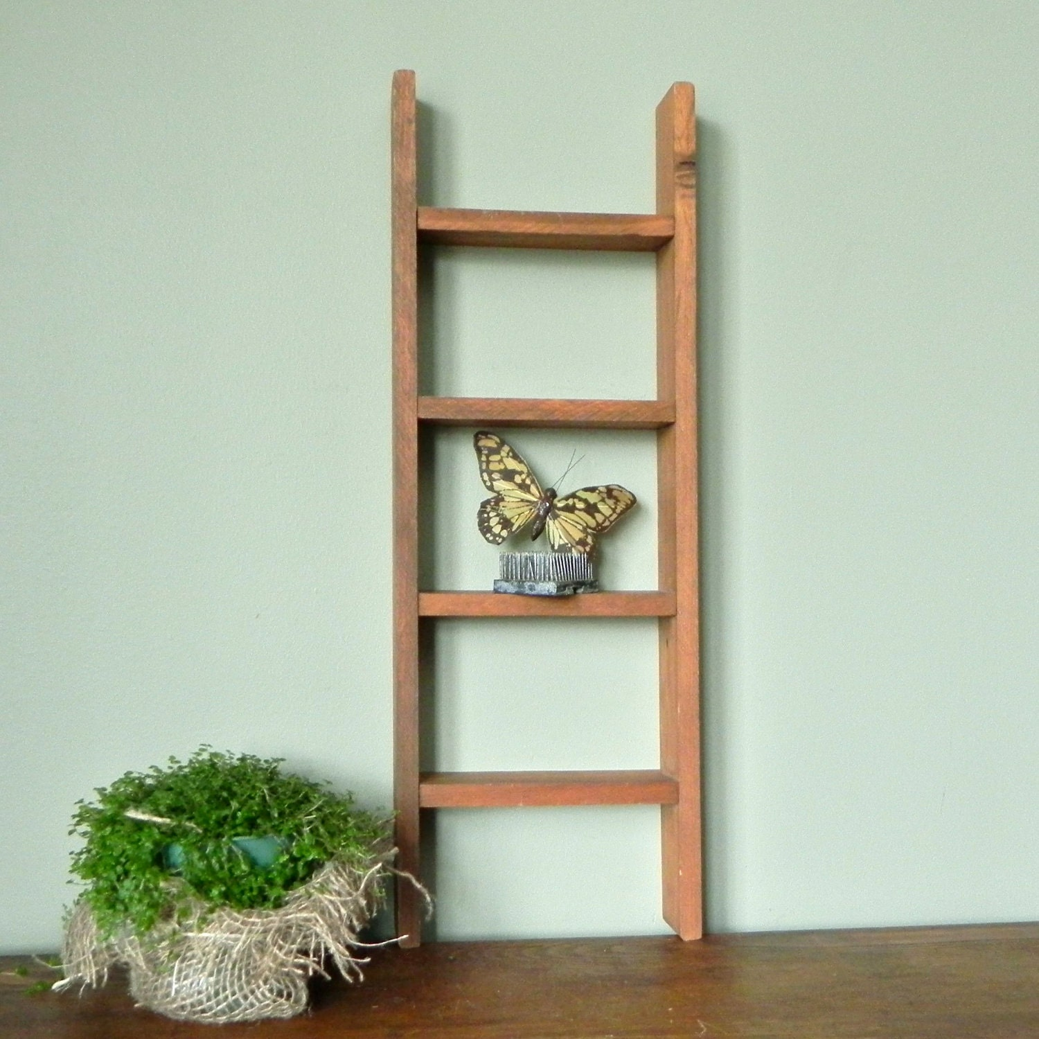 vintage ladder shelf rustic and simple perfect by jollytimeone. Black Bedroom Furniture Sets. Home Design Ideas