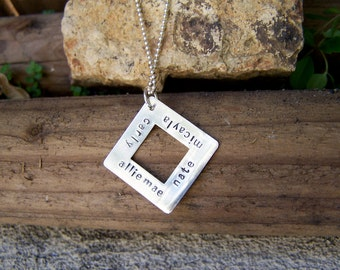 Hand Stamped Square Necklace
