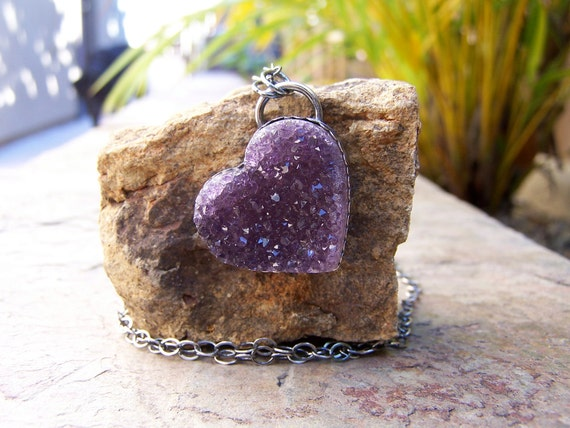 Stunning Large Natural Amethyst Druzy Heart Necklace-Ready to Ship