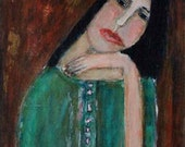 Acrylic Portrait Painting 9x12 wrapped canvas Original  - Lay Your Weary Head to Rest no 3 girl, sage green, hand, tired