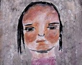 Sweetie - original mixed media 4x4 painting