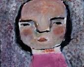 4x4 Acrylic Portrait Painting Original Mixed Media - Ellenor Wearing Pink, Cute