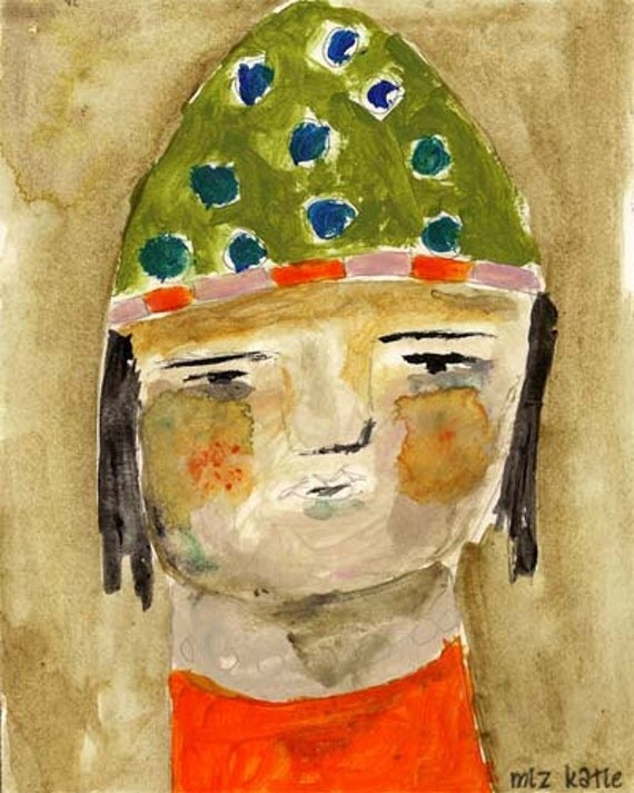 Acrylic original contemporary whimsical painting watercolor paper girl wearing olive green slouch hat Doll Face