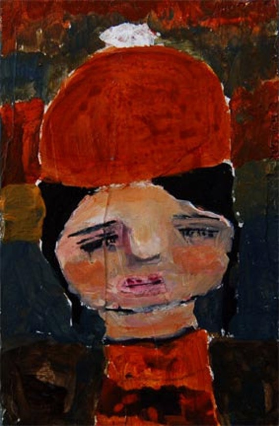 Acrylic Portrait Painting Maggie original, mixed media art 4x6 orange hat little girl eyes
