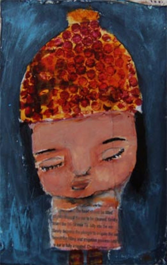 Petunia - original mixed media 4x6 painting