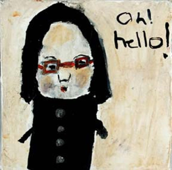 Oh Hello  - nerdy girl with red glasses original mixed media 4x4 painting