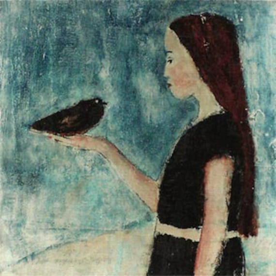 Girl and black bird mixed media print on chipboard sealed in beeswax 4x4 she was the only one