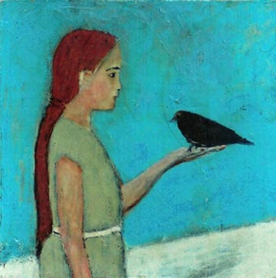 Be Still, Child - print on chipboard - little girl holding black bird in her hand