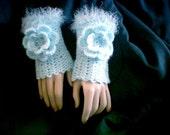 Maid Of Honor Rose Hand Warmers Cuffs in Light Aqua