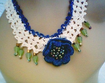 Akaterina Necklace Cotton with Cascading Glass Leaves and Seed Beads
