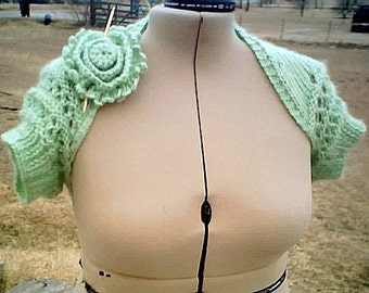 LIME Eyelet Open Lace Bridal Shrug Hand Knit and Crochet in S/M