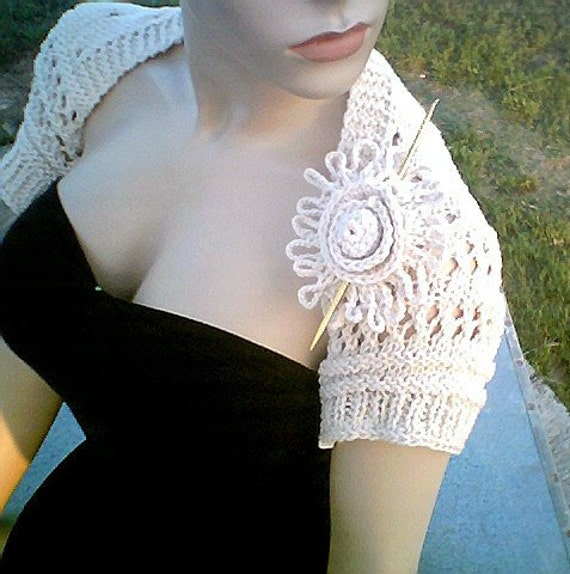 Ecru Eyelet Open Lace Bridal Shrug Hand Knit and Crochet in M/L
