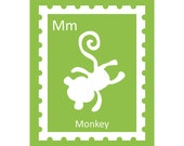 M is for Monkey - Silhouette Alphabet Print