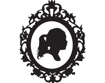 Custom Silhouette with Graphic Ornate Frame Print
