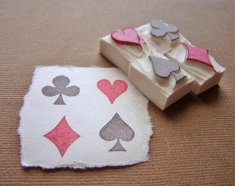 suit of cards, a four-piece set - hand carved stamps