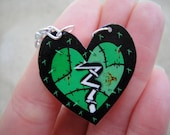 Green Stitched Up Heart Necklace