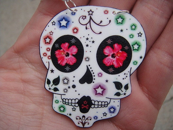 Tattoo Inspired Sugar Skull Necklace (Colored Stars)