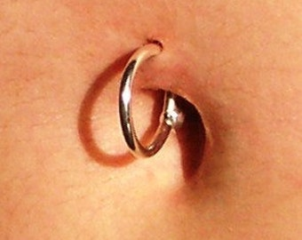 12mm -- 14k YELLOW over Solid Fine Silver Belly-Button Ring 14 gauge