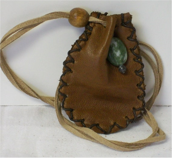 Handmade Leather Medicine, Sage Bag, Pouch, Green Moss Agate Gemstone Charm, Metaphysical
