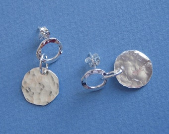 Hammered Silver Ring and Disc Earrings