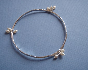 Hammered Silver and Multi Pearl Bangle
