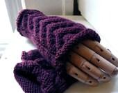 Purple Fingerless handwarmers. Large. Artemis in Deep Plum . soft wool blend