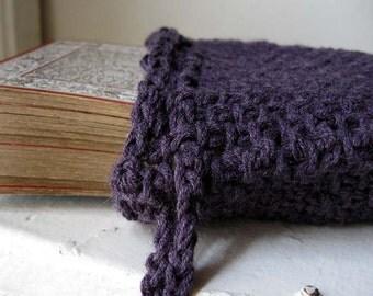 Purple tarot bag / knitted tarot pouch / drawstring tarot bag / royal purple / tarot card holder / oracle deck bag / ritual bag